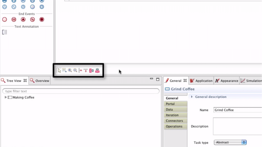 small buttons beneath the process window